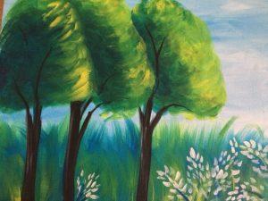 Peinture d'un paysage avec des arbres